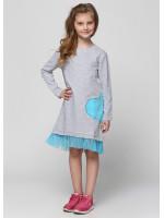 Платье «Лаввин» серого цвета с голубым