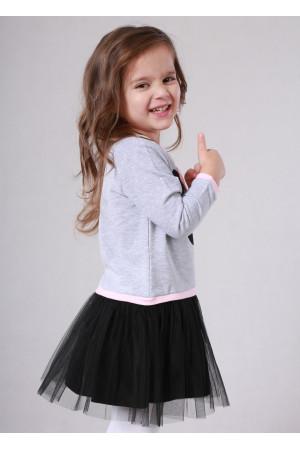 Платье «Минни» серого цвета с черным