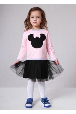 Платье «Минни» розового цвета с черным