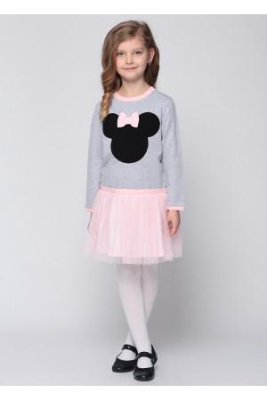 Платье «Минни» серого цвета с розовым