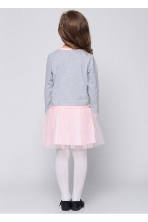 Сукня «Мінні» сірого кольору з рожевим