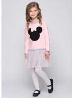 Платье «Минни» розового цвета с серым