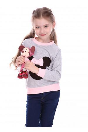 Джемпер «Минни» серого цвета с розовым