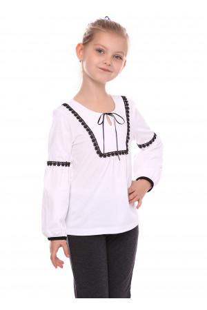 Блуза «Виктория» белого цвета с черным