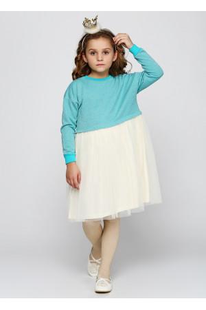 Платье «Клайси» голубого цвета с молочным