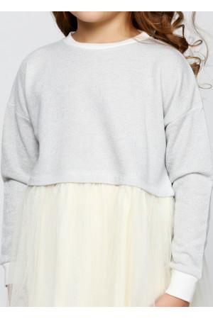 Плаття «Клайсі» сірого кольору з молочним