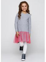 Сукня «Даліда» сірого кольору з рожевим