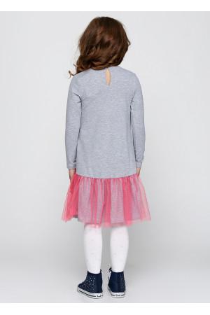 Платье «Далида» серого цвета с розовым