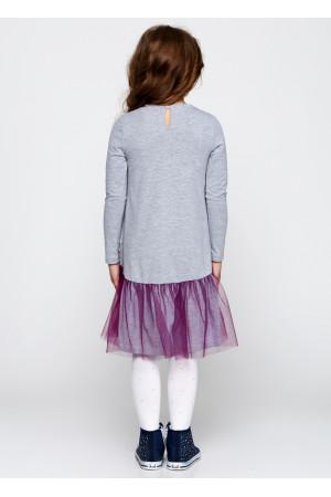 Платье «Далида» серого цвета с фуксией
