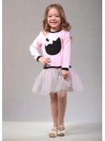 Платье «Кет» розового цвета с серым