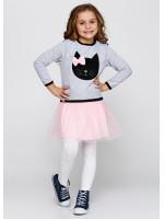 Платье «Кет» серого цвета с розовым