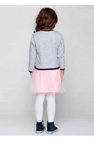 Сукня «Кет» сірого кольору з рожевим