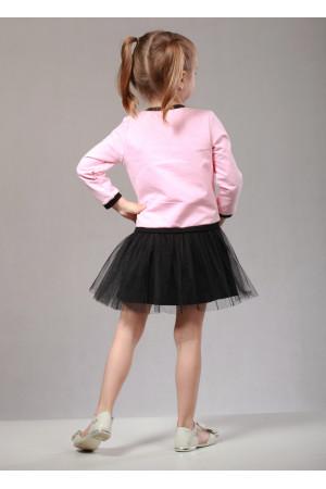 Платье «Кет» розового цвета с черным