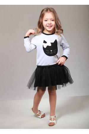 Платье «Кет» серого цвета с черным