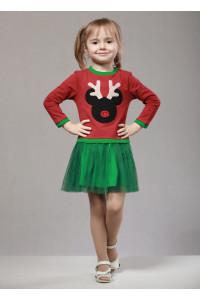 Платье «Дипси» бордового цвета с зеленым