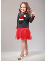Платье «Санта» цвета графит с красным