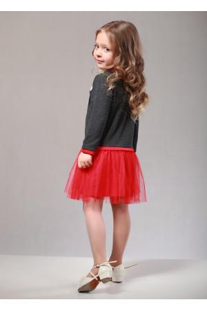 Сукня «Санта» кольору граніт з червоним