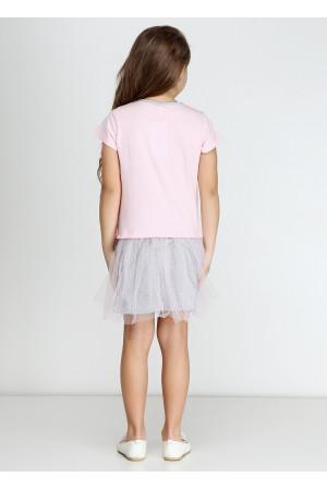 Платье «Минни» розового цвета с серым КР