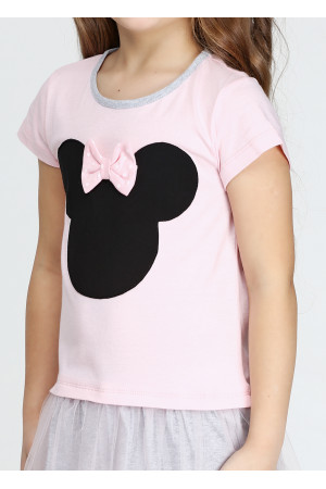 Сукня «Мінні» рожевого кольору з сірим КР