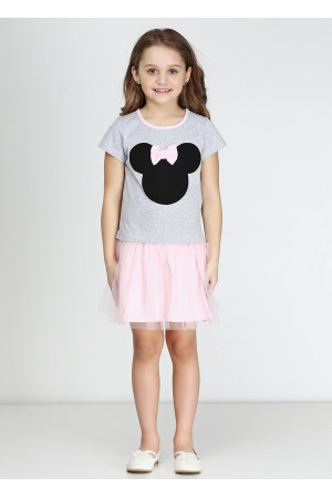 Сукня «Мінні» сірого кольору з рожевим КР