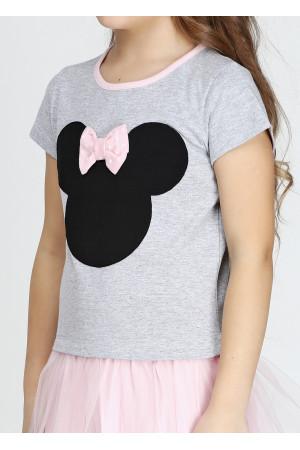 Платье «Минни» серого цвета с розовым КР