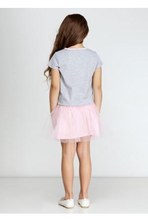 Платье «Кет» серого цвета с розовым КР