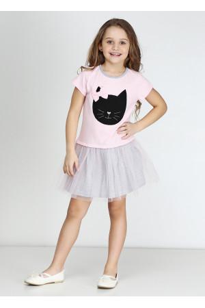 Платье «Кет» розового цвета с серым КР