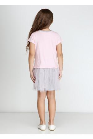 Сукня «Кет» рожевого кольору з сірим КР