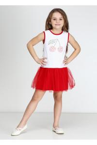 Платье «Вишенки» красного цвета