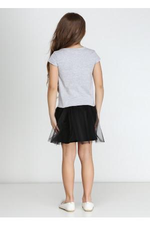 Платье «Рок» серого цвета с черным КР