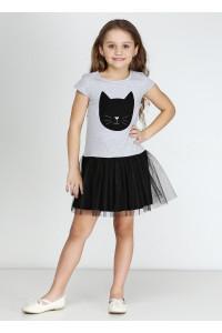 Платье «Кет» серого цвета с черным КР