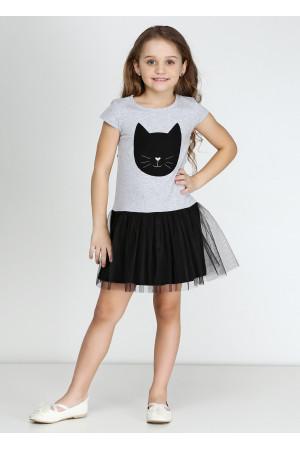Плаття «Кет» сірого кольору з чорним КР