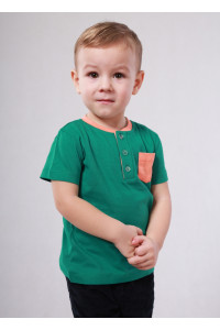 Футболка «Джош» зеленого кольору з оранжевим