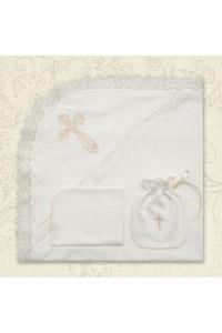 Крыжма «Крестильная скрынька» (интерлок) молочного цвета
