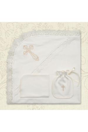 Крижма «Хрестильна скринька» (інтерлок) молочного кольору