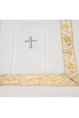 Костюм для крещения «Лучик» белый с золотистым