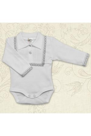 Боді для хлопчика «Свято» білого кольору з довгим рукавом