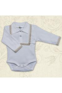 Боди для мальчика «Праздник» молочного цвета с длинным рукавом