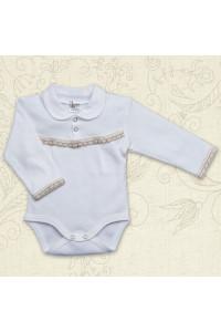 Боді для дівчинки «Свято» молочного кольору з довгим рукавом