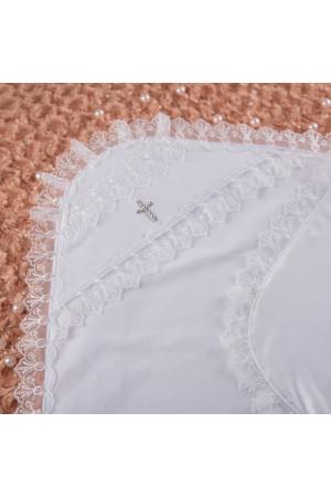 Крижма «Мрія» з атласу білого кольору
