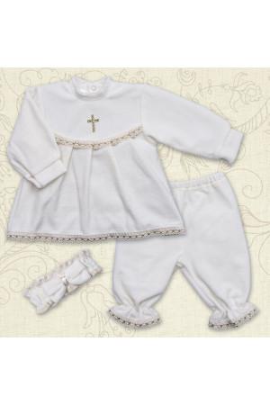 Костюм для крещения «Мария» из велюра белого цвета