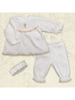 Костюм для крещения «Мария» из велюра молочного цвета