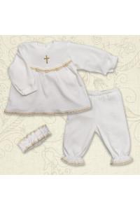 Костюм для крещения «Мария» молочного цвета