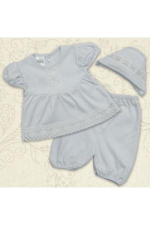 Костюм для хрещення дівчинки «Натхнення» білого кольору з коротким рукавом