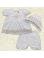 Костюм для крещения девочки «Вдохновение» молочного цвета с коротким рукавом