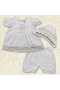Костюм для хрещення дівчинки «Натхнення» молочного кольору з коротким рукавом