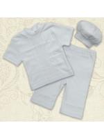 Костюм для крещения мальчика «Вдохновение» белого цвета с коротким рукавом