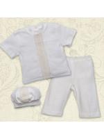 Костюм для крещения мальчика «Вдохновение» молочного цвета с коротким рукавом