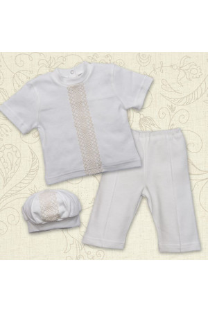 Костюм для хрещення хлопчика «Натхнення» молочного кольору з коротким рукавом
