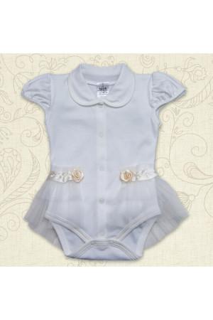 Боді «Диво» молочного кольору з коротким рукавом